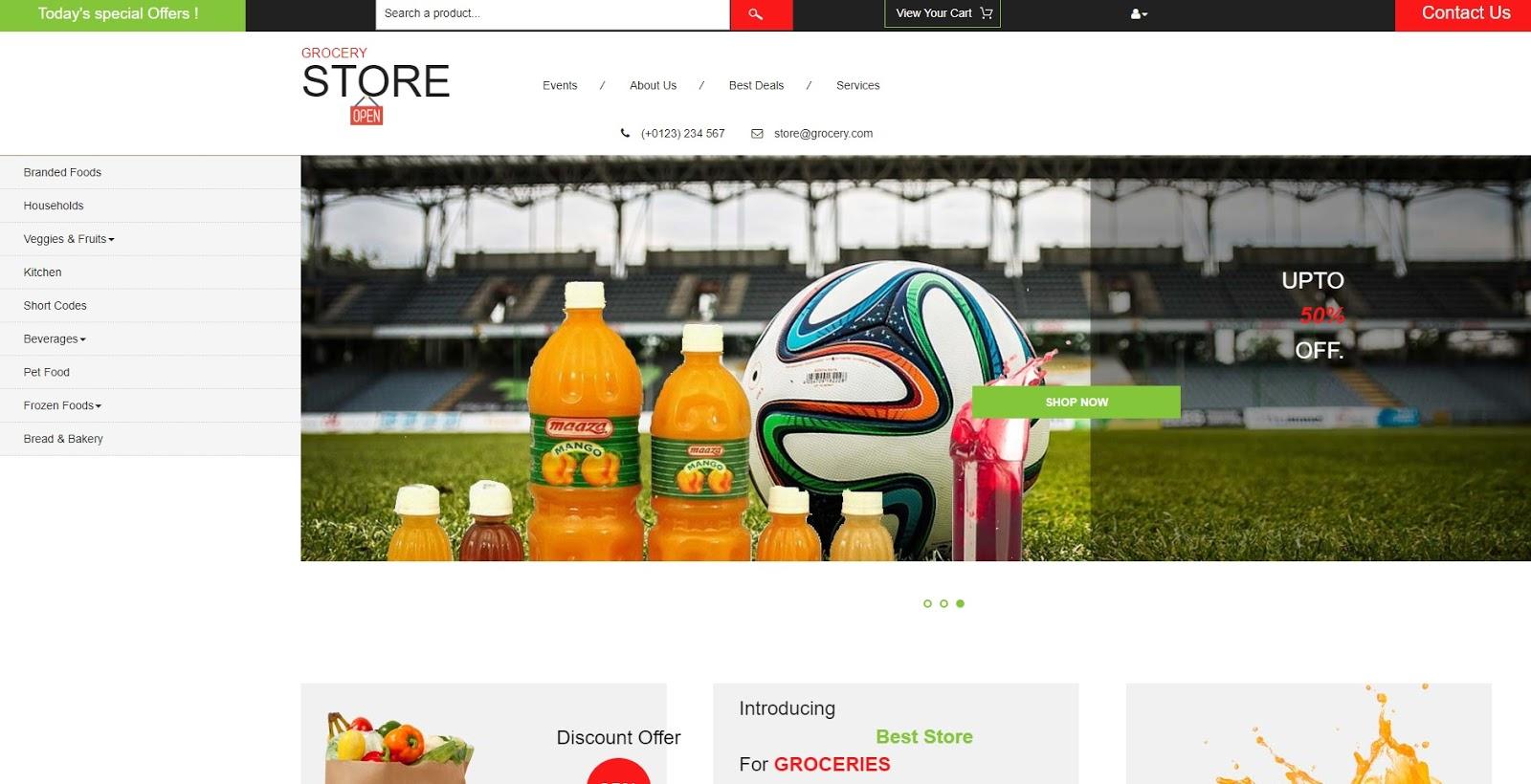 Theme Website bán thực phẩm