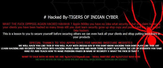 Ethical Hacking Services - Appin Security hacked By 133t Indian h4x0rs !