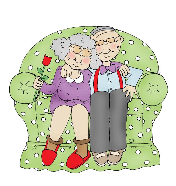 vector pareja de ancianos en el sofá haciéndose arrumacos