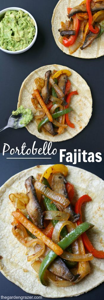 Quick and easy Portobello Fajitas make a flavorful, satisfying weeknight meal! Personalize them with your own favorite toppings! (Vegan, gluten-free)