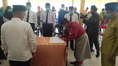 Bupati Pelalawan Lantik Ketua dan Anggaota Badan Permusyawarahan Desa (BPD)Desa Trimulya Jaya Kecamatan Ukui