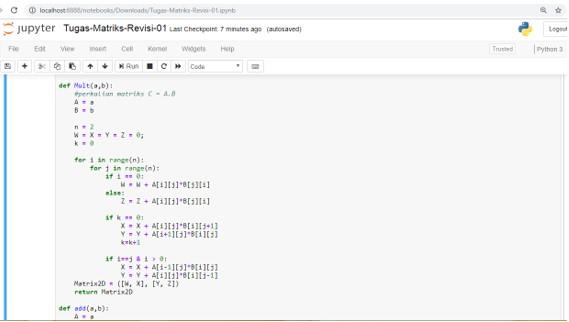 Program Operasi Matriks Ordo 2 x 2 Menggunakan Python