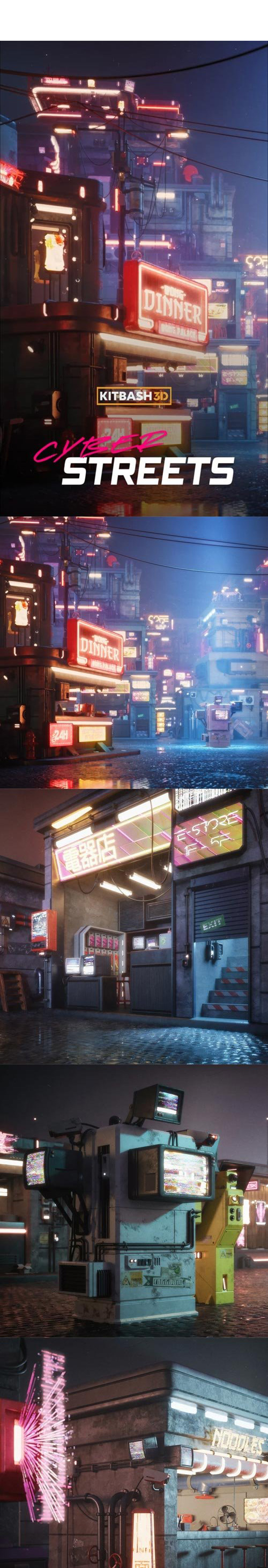 Kitbash3D Props Cyber Streets..