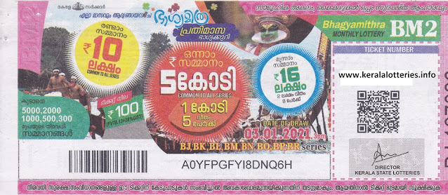 Kerala Lottery Monthly Bhagyamithra BM-2 dated 03 January 2021