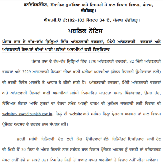 Punjab Anganwadi Recruitment 2021 Apply Offline