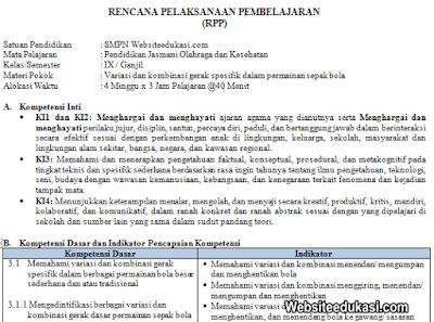 RPP PJOK Kelas 9 Semester 1 Kurikulum 2013 Revisi 2019