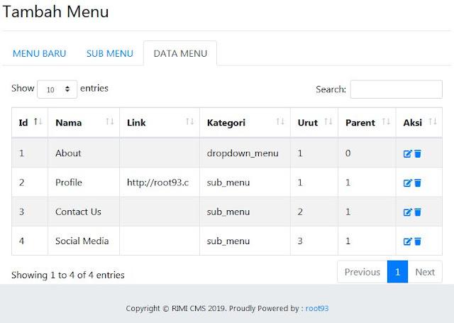 penambahan module menu cms rimi
