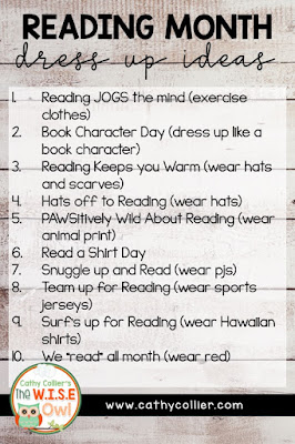 Reading Month can be fun for everyone with dress-up days, activities, and school-wide incentives.