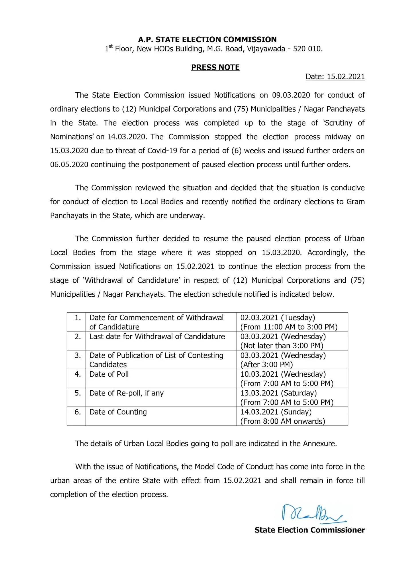AP Municipal Elections Schedule 2021