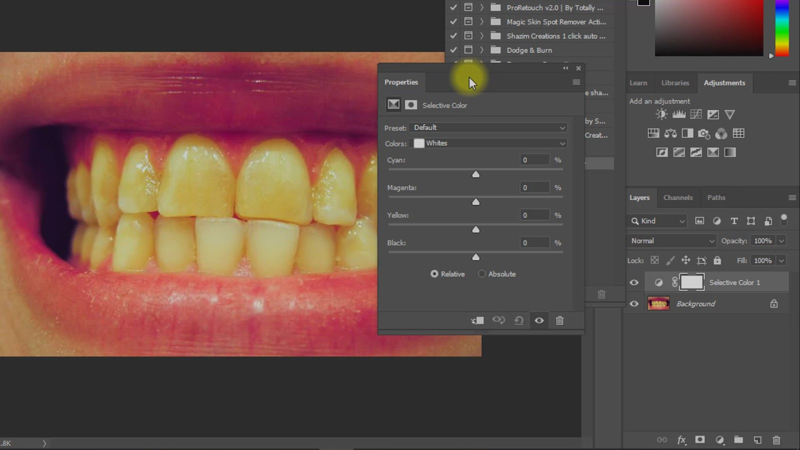 brighten and whiten teeth in photoshop actions screenshot 1