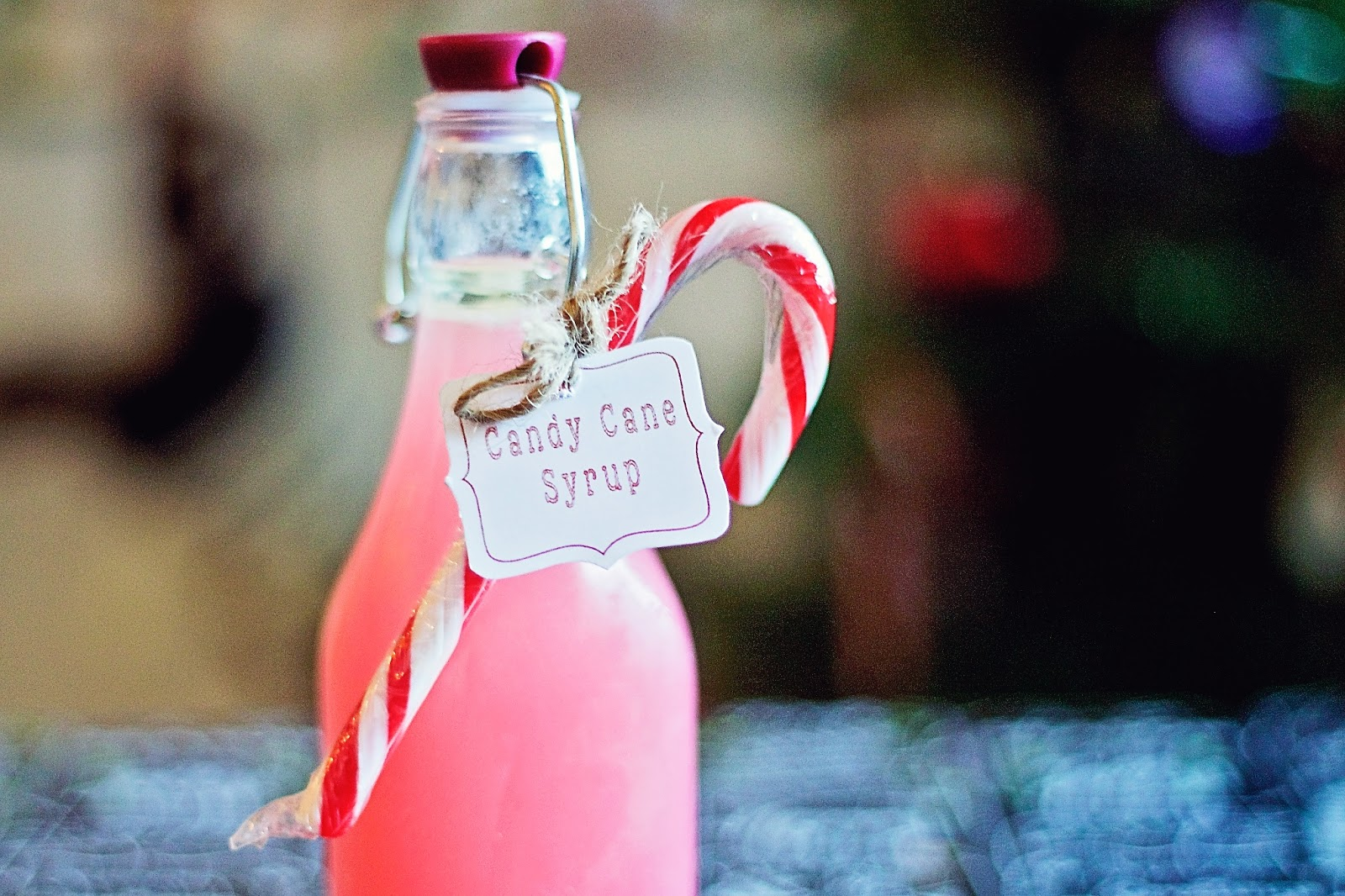 Close up of Candy cane Syrup bottle
