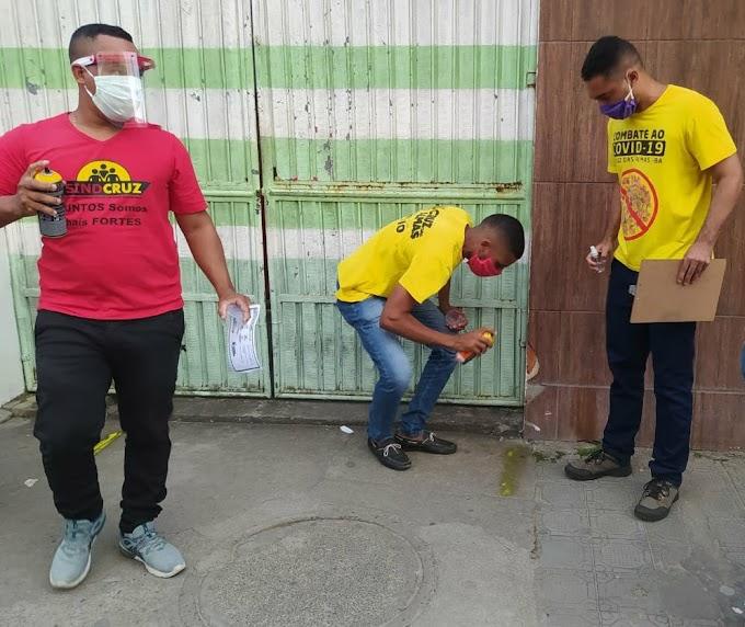 SindCruz e Prefeitura de Cruz das Almas realizam ações em combate ao Covid-19 no centro da cidade