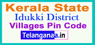 Idukki District Pin Codes in Kerala State