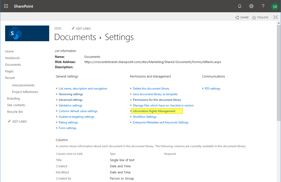 sharepoint online activate irm