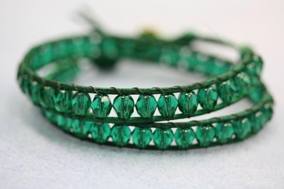 Emerald Leather Wrap Bracelet Tutorial Diy