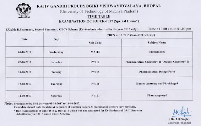 RGPV Time Table Pdf (1st, 2nd, 3rd, 4th, 5th, 6th, 7th, 8th Sem)