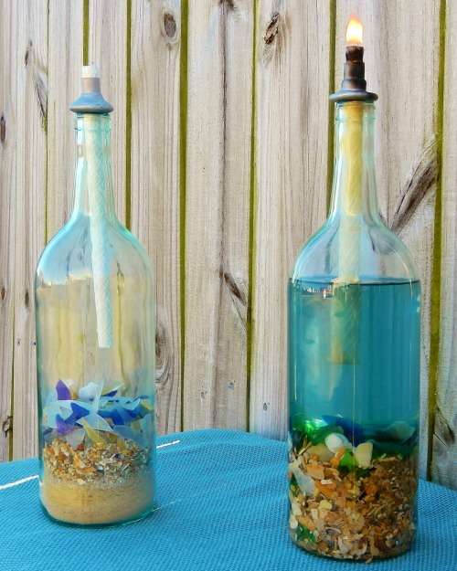 Wine Bottle Tiki Torch Oil Lamps with a Nautical & Beach