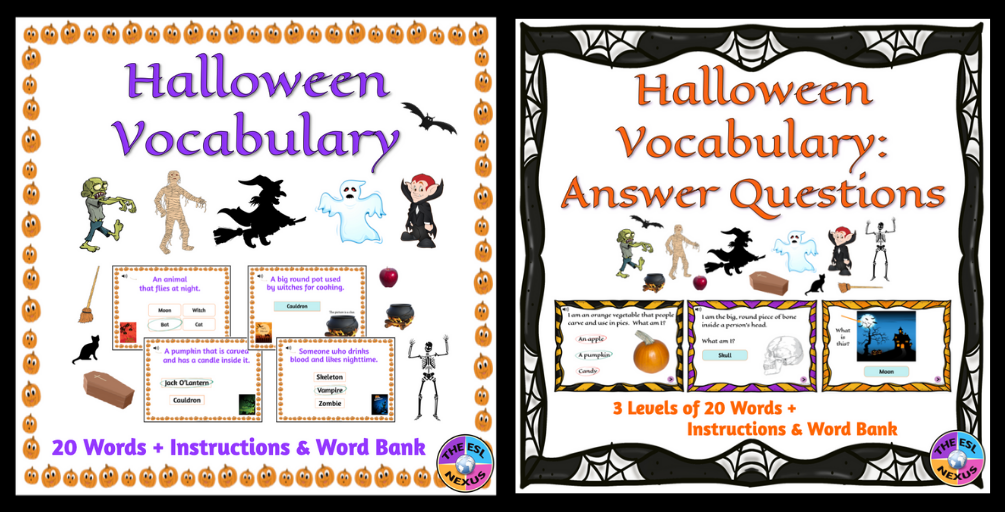Find Halloween resources for students in The ESL Nexus Boom Learning store.