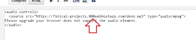 How to upload mp3 on blogger