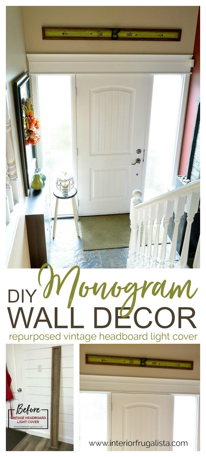 DIY Monogram Wall Decor From Repurposed Headboard