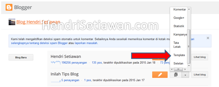 Cara mengganti template blog hasil download