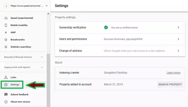Verify site ownership in setting tab in search console