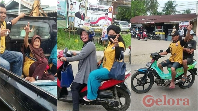 Berangkat Kampanye Jokowi, Warga Pontianak Kenakan Kaos Hanura sambil Acungkan 2 Jari