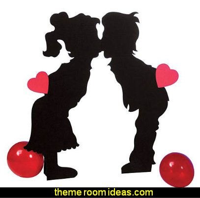 Valentine Kissing Kids Standee Standup Photo Booth Prop Background Backdrop Party Decoration Decor Scene Setter Cardboard Cutout: