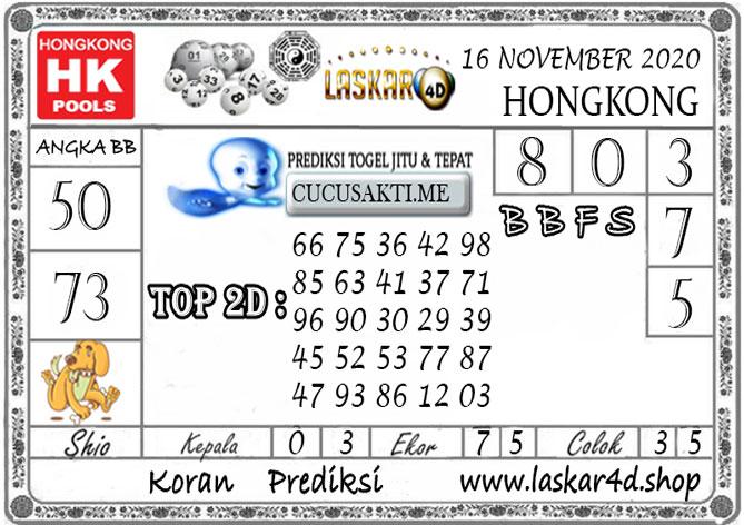 Prediksi Togel HONGKONG LASKAR4D 16 NOVEMBER 2020