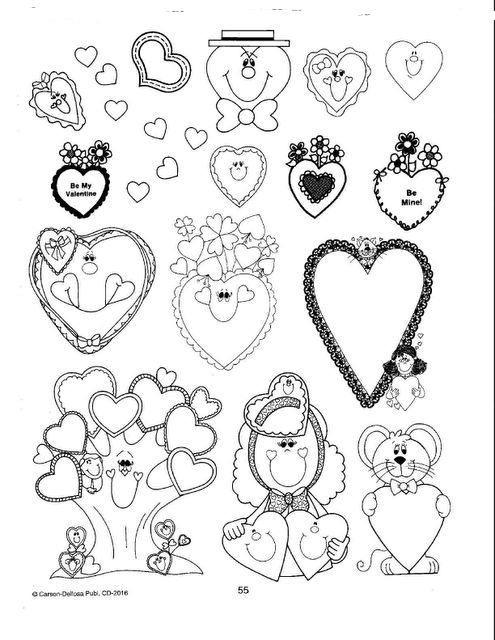 corazones y detalles para recortar y pegar en una tarejta de San valentín