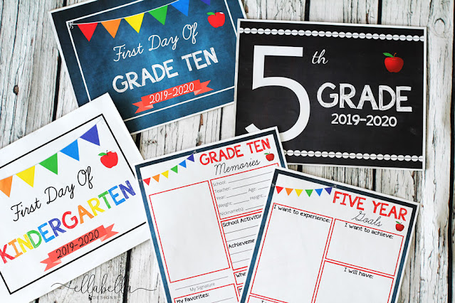 First Day of School Signs and School Memory Pages