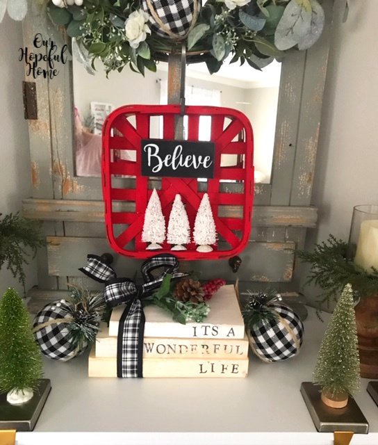 red tobacco basket Christmas farmhouse decor bottle brush trees It's A Wonderful Life