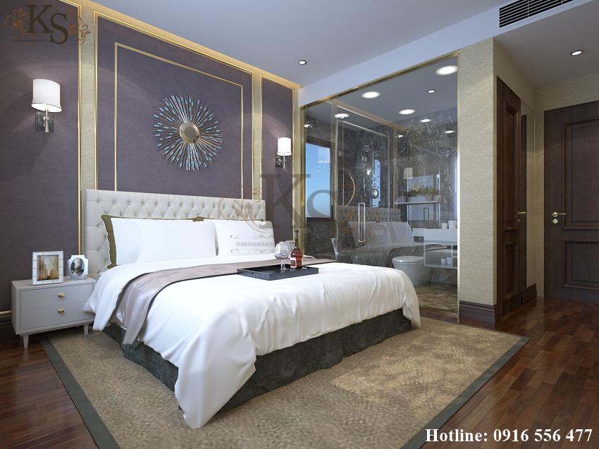 Hình ảnh: Thiết kế nội thất phòng ngủ đơn khách sạn cũng sử dụng điểm nhấn là màu sắc và chất liệu.