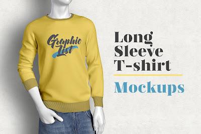 T-shirt mockup lengan panjang gratis