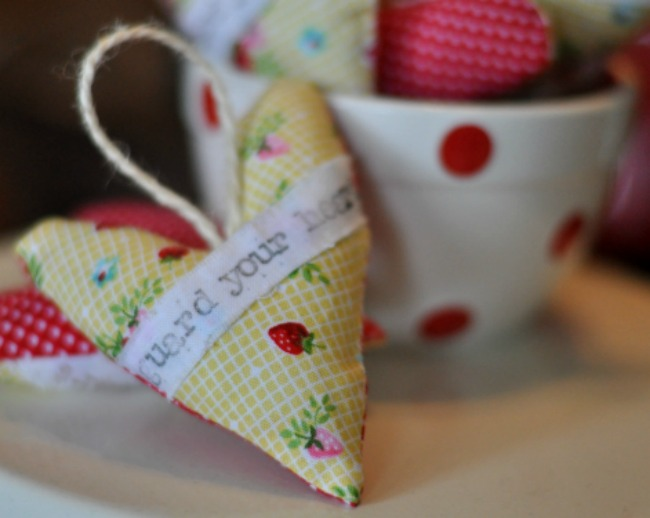 hand made fabric hearts