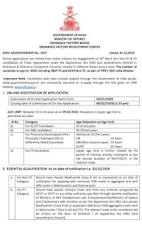 Recruitment in OFB - 6060 Trade Apprentice Posts