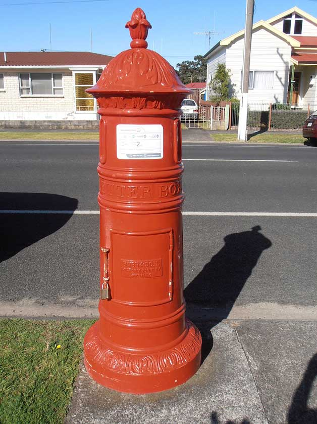 An early pillar box in Thames, New Zealand