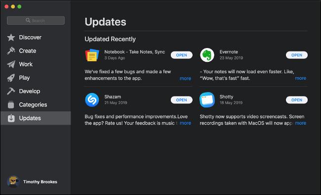 تثبيت تحديثات برامج App Store