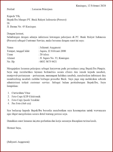 Contoh Application Letter Posisi Customer Service