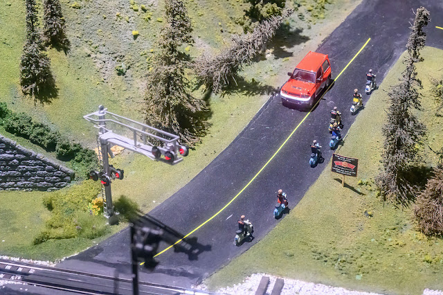 Scooter Gang on the Choo Choo Barn Model Train Layout