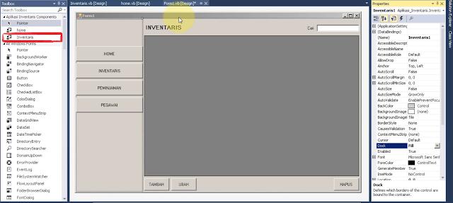 Desain Form Admin / Menu Pada Aplikasi Inventaris Menggunakan User Control