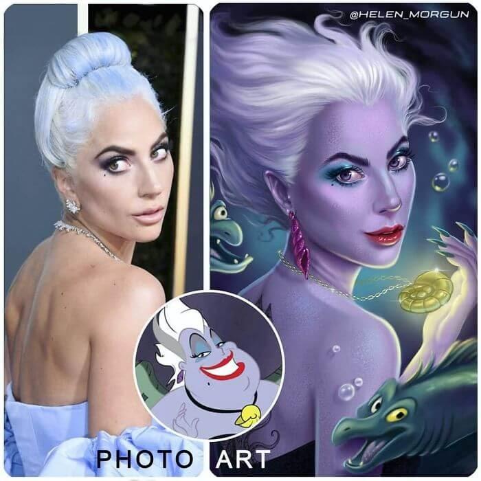 11-Lady-Gaga-As-Ursula-Helen-Morgun-Celebrities-and-Disney-www-designstack-co
