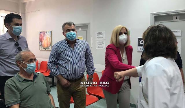 Εμβολιαστικό κέντρο στο Άργος επισκέφθηκε η Φώφη Γεννηματά (βίντεο)