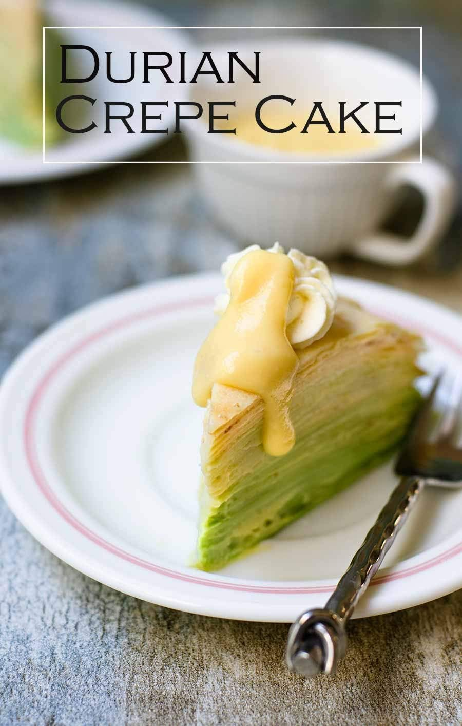 Durian Crepe Cake Recipe is an excellent flavours combining the  French crepe with French creme patisserie and durian, the king of fruit in South-east Asia.