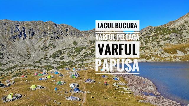 Lacul Bucura și cele mai înalte două vârfuri din Retezat, Vârful Peleaga și Vârful Păpușa