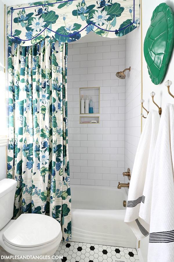 diy shower curtain and cornice board