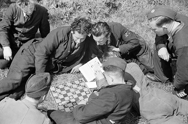 RAF pilots relaxing at RAF Hornchurch on 7 May 1942 worldwartwo.filminspector.com