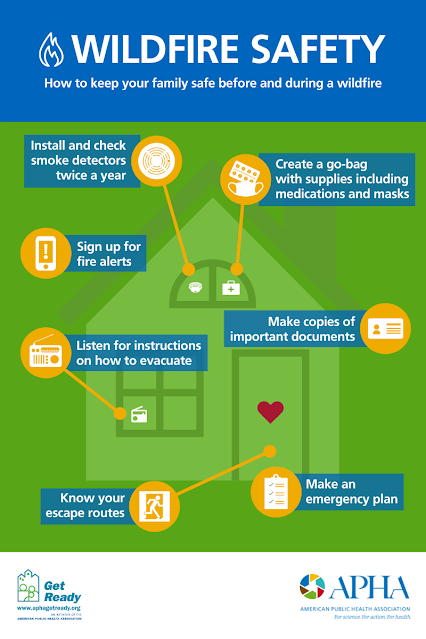 How to prepare for wildfires. Tips include check smoke detectors, get local fire alerts, listen for evacuation instructions, know your escape routes, make copies of important documents, have an emergency contact list, and have a go-bag ready.