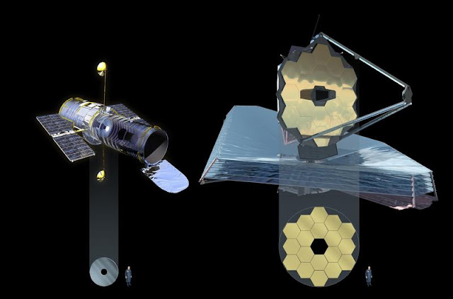 Hubble e James Webb telescope comparison