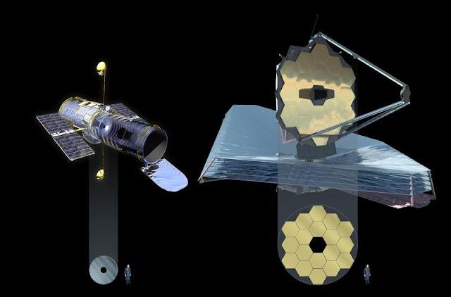 Hubble e James Webb telescope comparison